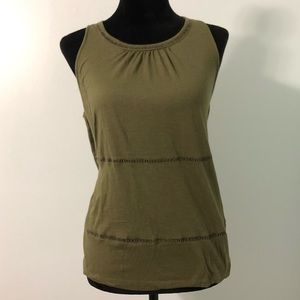 Old Navy tank top shirt army green keyhole back L